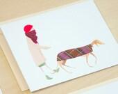 Greyhound Dog Walker Set of 5 Cards
