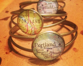 Portland Map Cuff Bracelet