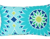 Turquoise Soleil LA Outdoor Lumbar Pillow Cover with Trina Turk for Schumacher Fabric