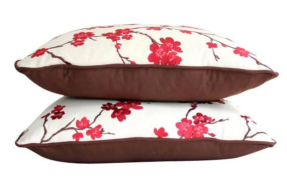Embroidered Red and Pink Cherry Blossoms Pillow Covers with Chocolate Brown Piping