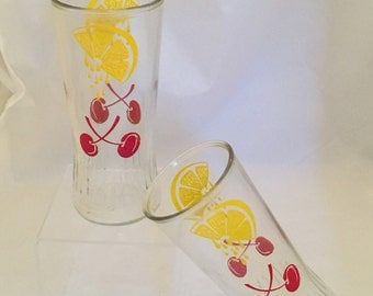 Vintage Cherry Lemonade Glasses, Set of 2