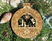 Shepherds Nativity Christmas Ornament laser cut laser engraved