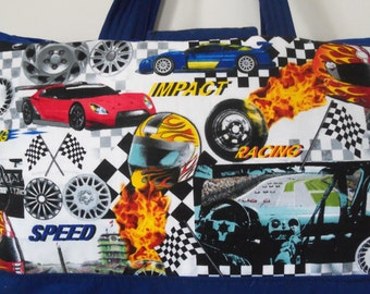 Nascar Tote Bag,Little Boys Book Bag. Race Car. Over night Bag. Diaper Bag Hand made