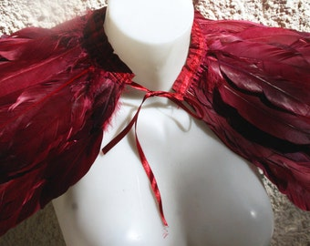 Bordo duck   feathers shall.Dark red Shoulders  Feathers cape . gothic decadence costume ,vintage capelet .