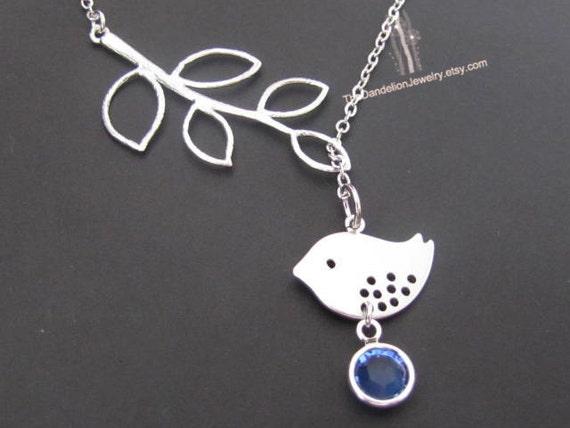 Bird Necklace, Lariat Necklace, Birthstone Necklace, Personalized Necklace, Personalized Jewelry, Pendants,  Crystal, SALE 10% OFF