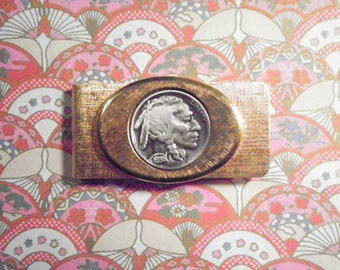 1 Vintage Goldplated Indian Head Buffalo Nickel Money Clip