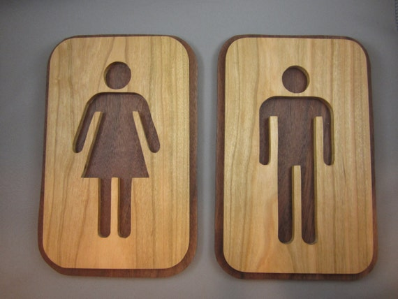 Https Www Etsy Com Listing 211119635 A Pair Of His And Hers Bathroom Signs