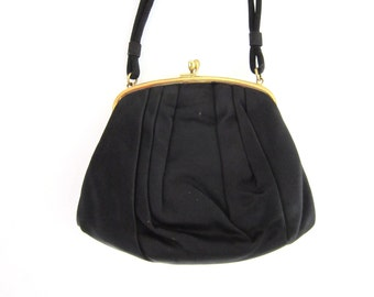 Vintage Morris Moskowitz Black Satin Evening Bag with Coin Purse