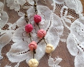 Knotted pink shadings ombré dangle earrings - faux suede - chinese knots earrings