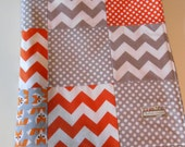 Baby Minky Gender Neutral Blanket Orange Gray Cloud9 Picture Pie Fox 2 Sizes--Made to Order
