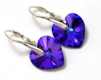 Purple Heart Earrings Swarovski Heliotrope Heart Crystal Sterling Silver Earrings Purple Crystal Earrings Modern Post Leverback Earring HE37