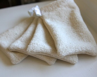 Pure Organic Terry Cloth & French Terry Wash Mitts / faces // babies // bodies