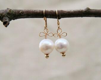 Penelope Earrings: Delicate freshwater pearl earrings wire wrapped on 14kt gold fill