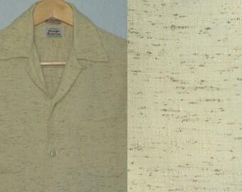 1950s Shirt / Flecked / S / Rayon / Stradivari / Rockabilly Shirt / Atomic / Loop Collar / Atomic Fleck / RnR / Stage