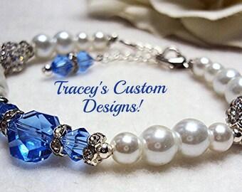 "The Perfect ""SOMETHING BLUE"" Bridal Bracelet - Custom made designs."
