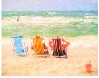 Colorful Impressionistic Beach Seashore Coastal 8x10 and 16x20 Glicee Print from original art - Best Seats in the House -  Korpita ebsq