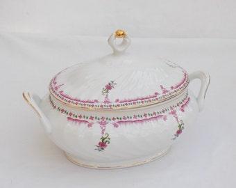 Porcelana Quinta Nova - Portugal Porcelain Covered Bowl Serving Terrine Tureen Vintage Demitasse Pansies & Foliage Gold Gilt - Bone China