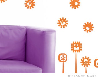 Wall Decals for Baby Nursery & Kids Decor - Happy Monsters Collection - Orange Flowers - Great Newborn Gift