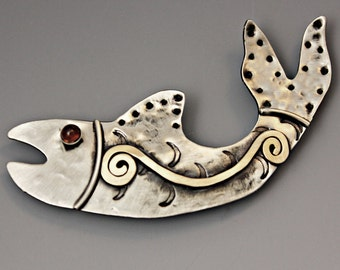 Fish Pin, Alaskan Fish Pin, Native American Fish, Silver Fish Pin RP0292PN