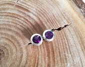 One of Kind Fine Silver Jewelry, Unique and Delicate Design Studs with Amethyst in Sterling Silver, Handmade Silver Earrings