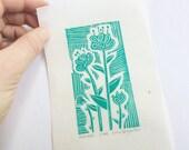 mini linocut - FLOWER // 4x6 art print // printmaking // block print // turquoise // blue green // miniature // original art // hand-printed