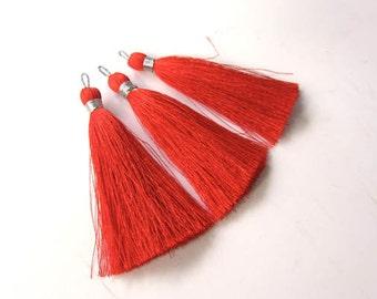 "Orange Burst Luxury Silk tassels Supplies NEW Colors Long tassel/DIY/Designer Mala tassel jewelry making tassel / Boho tassel / 8cm 3"""