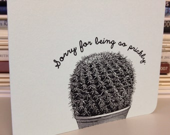 Sorry for being so prickly greeting card