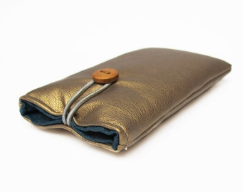 Case for iPhone gold faux leather Smartphone cover fabric bag padded handmade 4S, 4, 5C,6