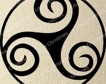 Clipart Digital Transfer Image Celtic Triskell, Instant Download for Paper crafts, Iron on Transfers, Pillows, Fabric, Tea Towels, etc 291
