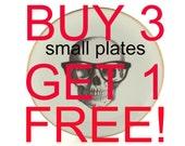 Buy 3 Get 1 Free Altered  Dessert Plate Vintage Porcelain Decor Golden Trim Home Wall Decoration