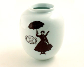 SALE  Mary Poppins Vase Flowers Porcelain Redesigned Perfect Musical Film Big Ben London England White Brown Romantic