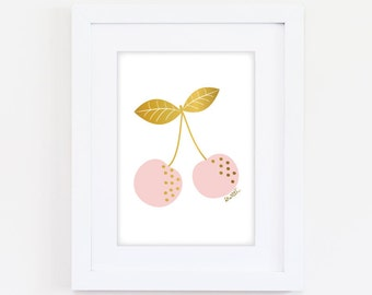 Printable Sweet Cherries Art Print - Pink & Gold - Digital Download