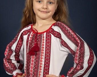 Vyshyvanka girl. Ukrainian embroidered Children's blouse. Girls blouses, vyshivanka. Beautiful Baby blouse in the Ukrainian style for girls