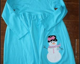 Custom Applique Christmas Snowgirl Empire Waist Dress