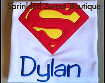 Boys Custom SUPERMAN Applique Shirt Superhero