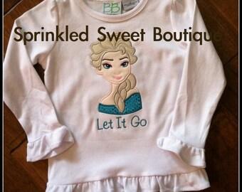 Frozen Elsa Custom Ice Princess Queen Applique Shirt Disney Trip Birthday Princess First Disney Trip