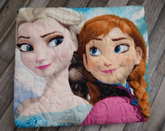 Frozen Panel Quilt...Frozen Blanket...Anna and Elsa Quilt...Christmas Gift...Little Girl Quilt....PEACHESANDCREME