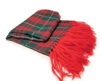 1940s Scarf, Red Tartan Wool Blend Fringed Boyfriend Scarf, Very Long Scarf, 40s Red Plaid Scarf
