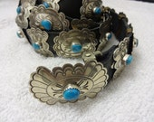 """52"""" Wrap Around 28 Sterling Silver Turquoise Blackgoat Navajo Concho Belt 254 grams"""