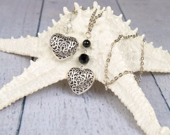 Lace Heart Pendant Necklace with black or clear crystal bead
