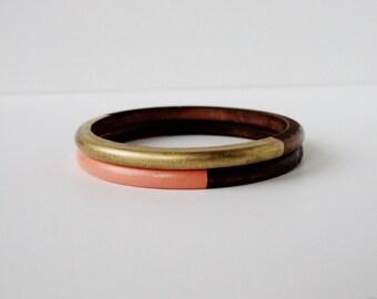 Geometric  Skinny Wood bangle  Set Gold and Peach.
