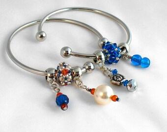 Silver Bangle with Charms, European Bead Bangle, Beaded Bead Jewelry, European Charm Bracelet, Large Hole Bead Bracelet - Etsy UK Seller