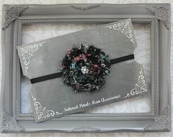 Black vintage flower shabby adjustable elastic headband