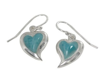Romantic Sterling Silver Heart Shape Larimar Earrings
