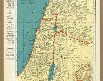Vintage Map Palestine Syria Jordan From 1937 Original