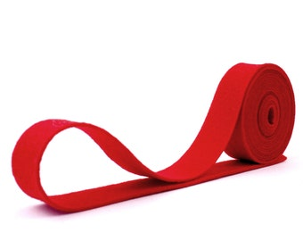 "Wool Felt Ribbon - 100% Wool Felt Ribbon in color RED - 3/4"" X 2 Yards - Merino Wool Felt - Red Ribbon"