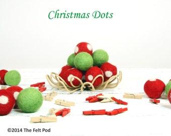 Wool Felt Balls // Christmas Decoration // DIY Garland // DIY Mobile // Wool Beads // Christmas Polka Dots Set // 2.5 cm // 20 Count