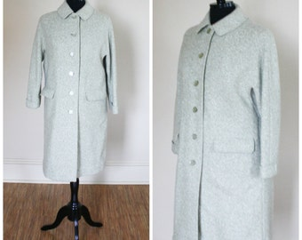Vintage Green and White Wool Belson Coat Mint Green Light