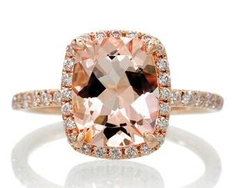 18K Rose Gold 9x7 Cushion Cut Diamond Halo Morganite Engagement Ring Wedding Anniversary Ring