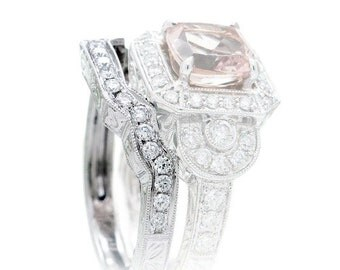 Matching Diamond Band to Three Stone Cushion Cut Vintage Design Pave Ring